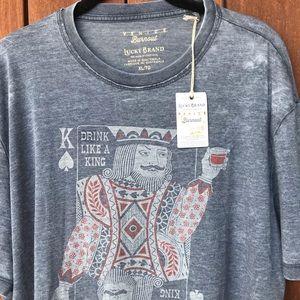 Lucky Brand Venice Burnout Tee Shirt Blue Gray